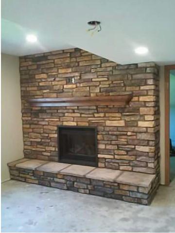 Caramel Ledgestone Fireplace